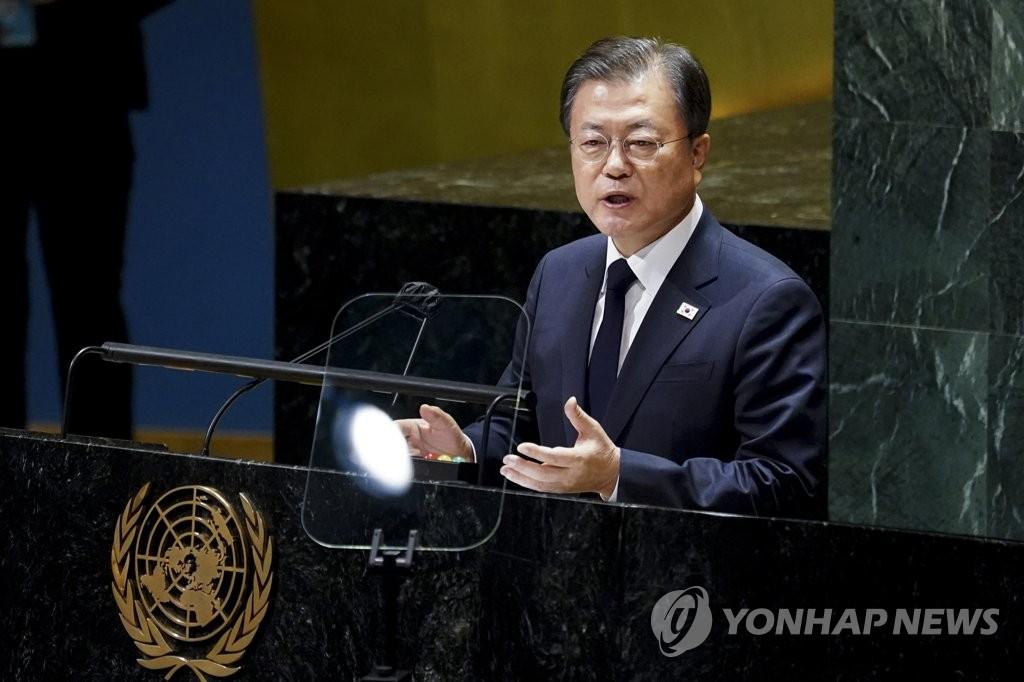 资料图片:当地时间9月21日,在美国纽约,韩国总统文在寅出席第76届联合国大会一般性辩论并发表重要讲话。 韩联社